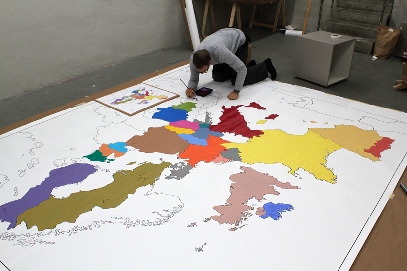 painting the Europe Crumpled map in ACUD