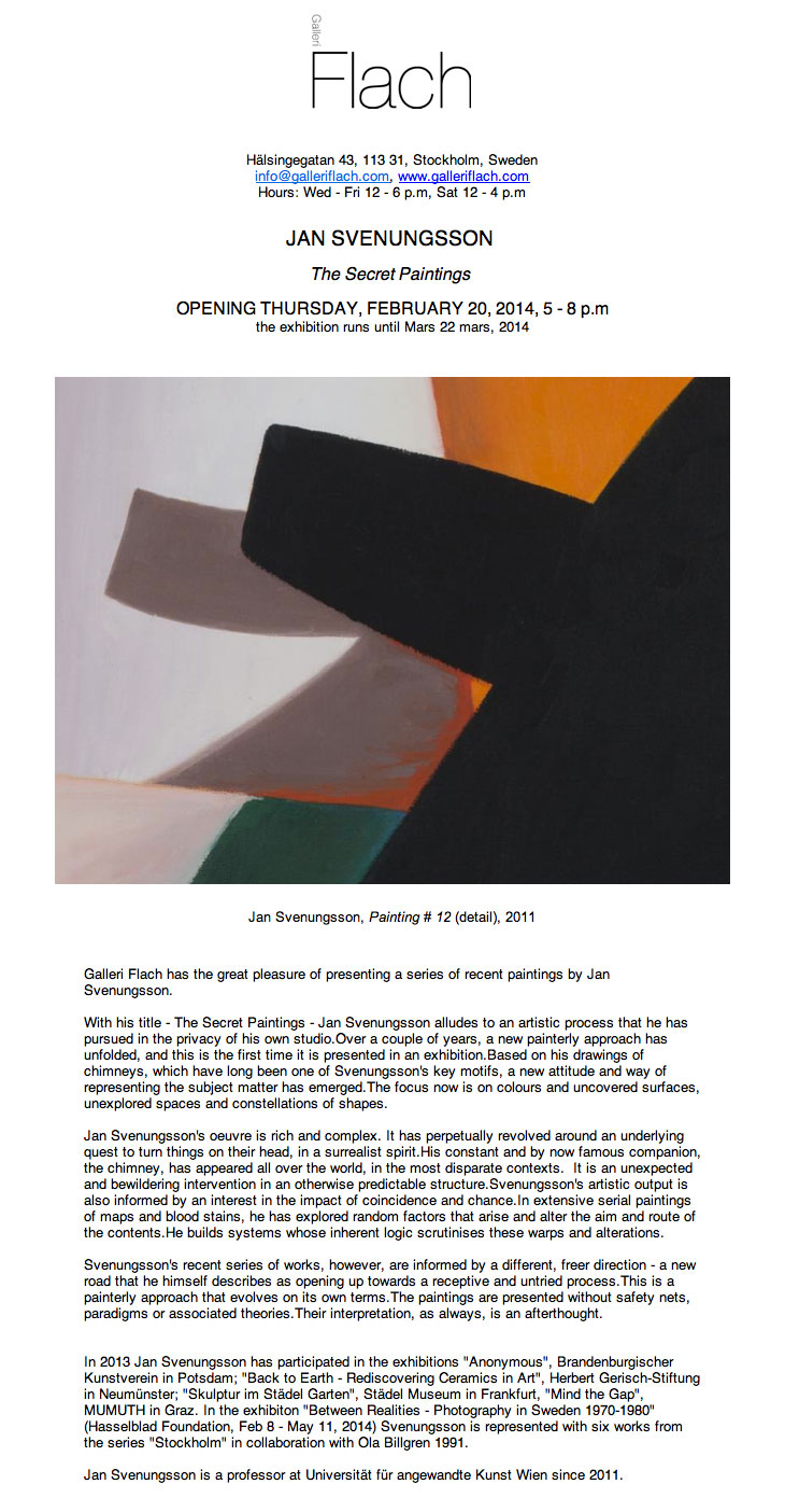 "invitation exhibition jan svenungsson: ""The Secret Paintings"" at Galleri Flach, Stockholm 2014"